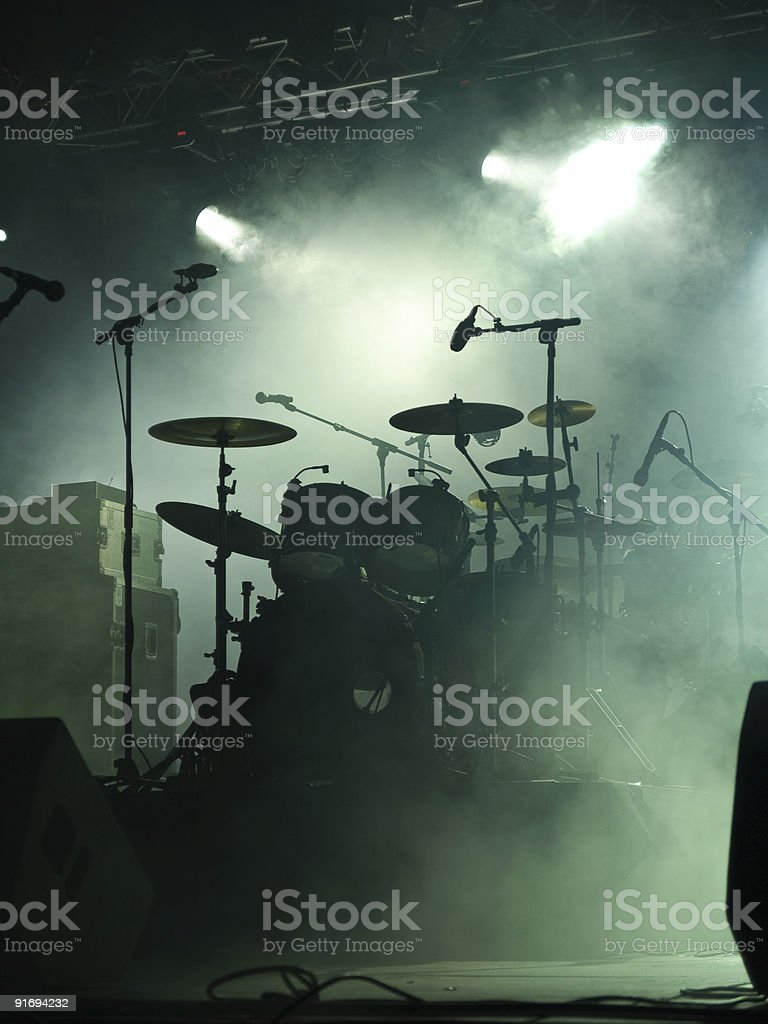 Empty stage with instruments ready for performance stock photo