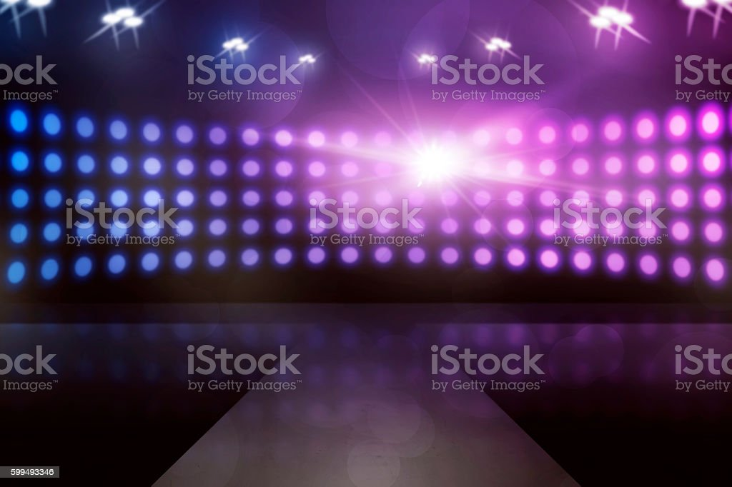 Empty stage with lamp sparkling stock photo