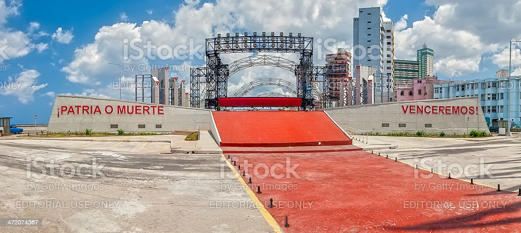 Empty stage with slogan for International Labour Day stock photo