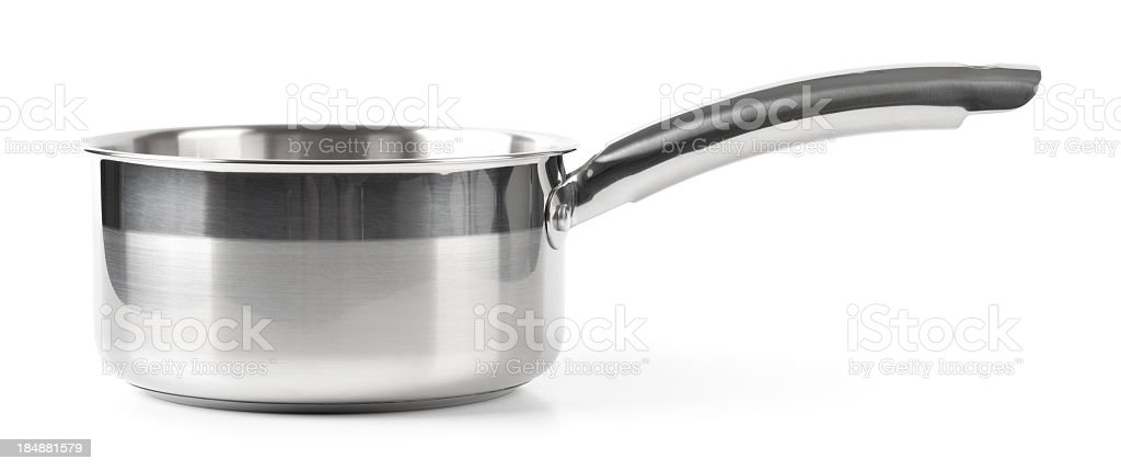 A empty stainless steel pot with a long handle royalty-free stock photo