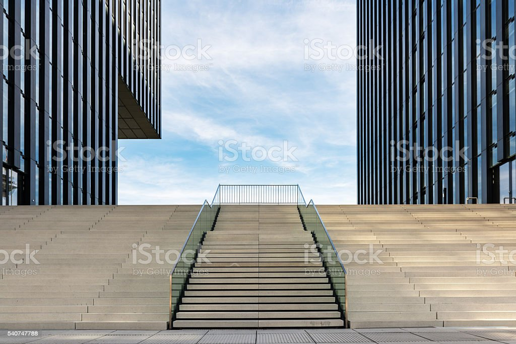 Wide stairway between two modern office buildings at the Medienhafen...