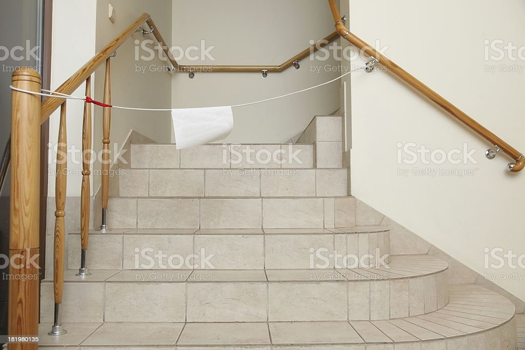 Empty stairway with tiled floor. No entry sign. royalty-free stock photo