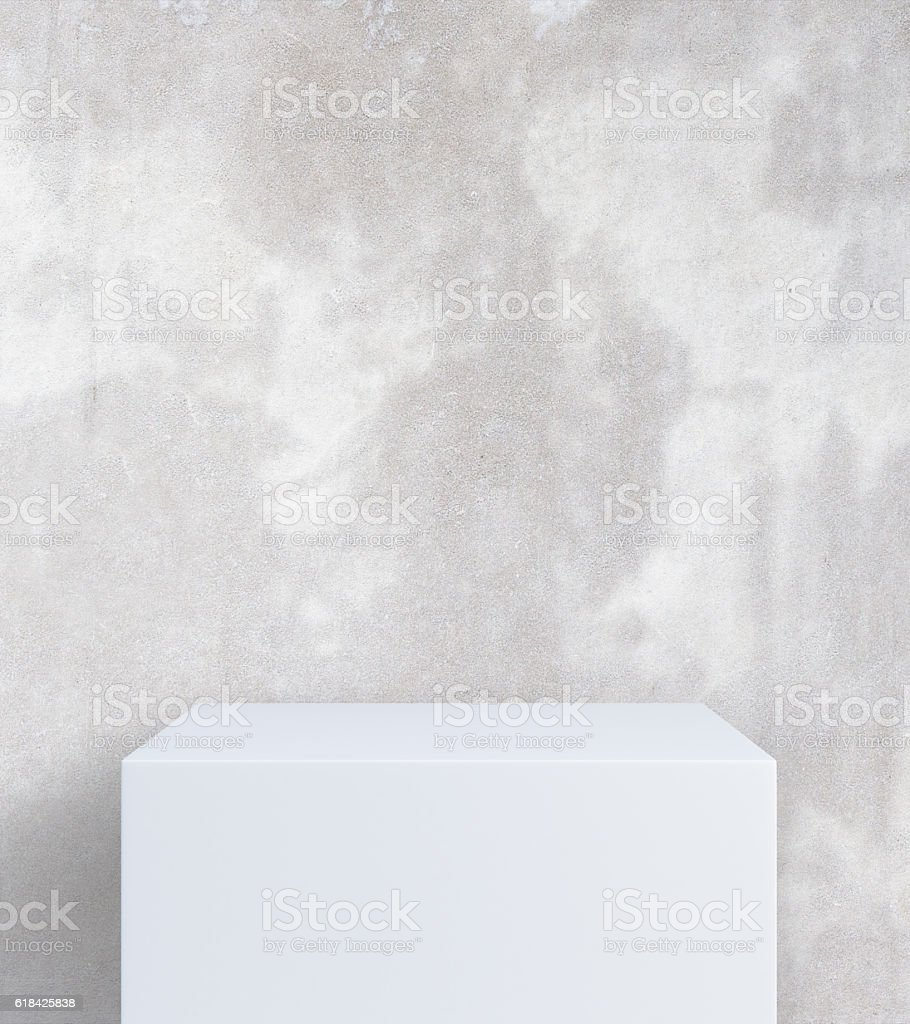 Empty stand on concrete background stock photo