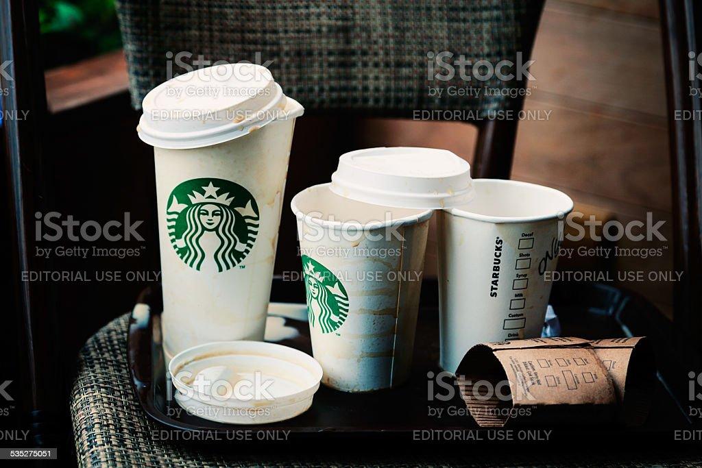 Empty Starbucks Paper Cups stock photo