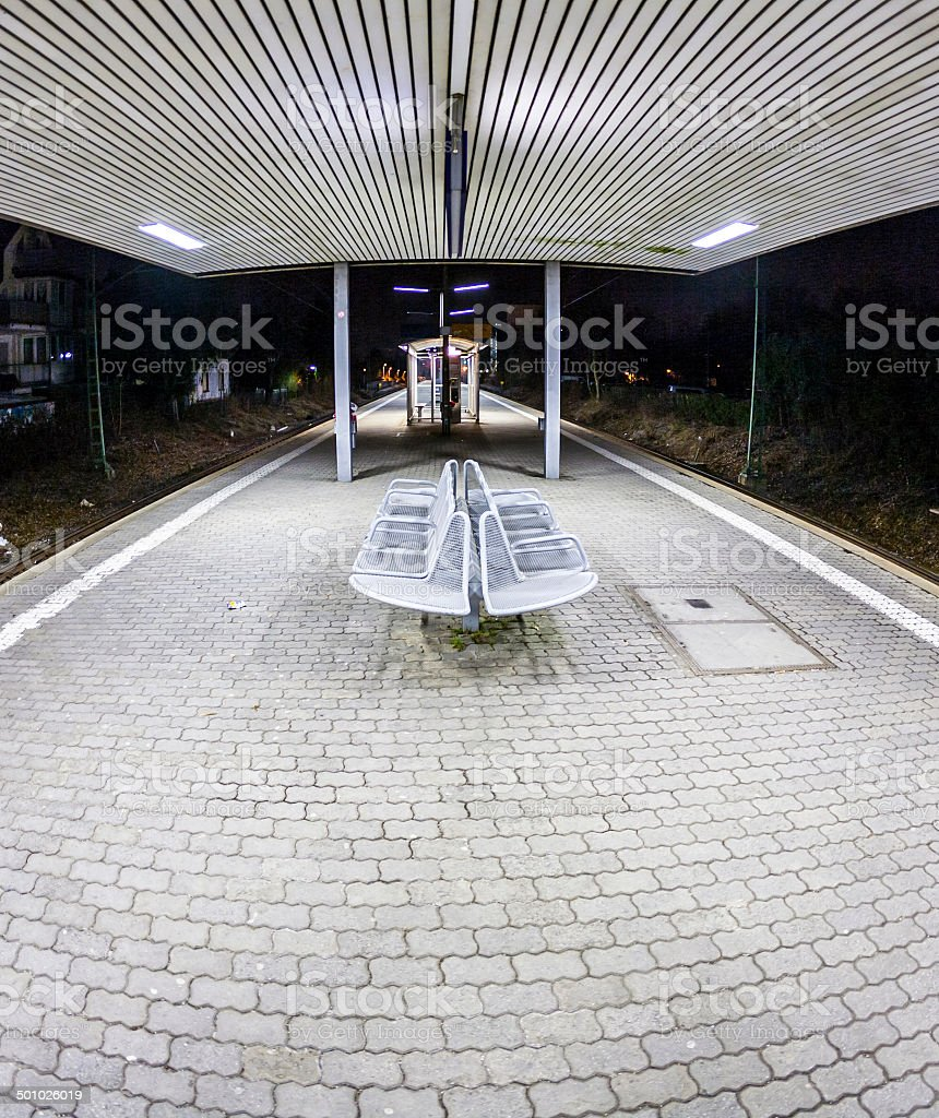 empty station early morning in the dark royalty-free stock photo