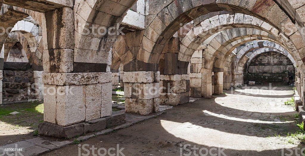 Empty stone arcade with columns, Smyrna stock photo