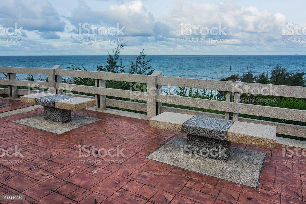 Empty stone benches, Chanthaburi, Thailand. stock photo