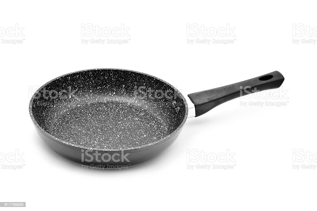 empty stone non-stick frypan stock photo