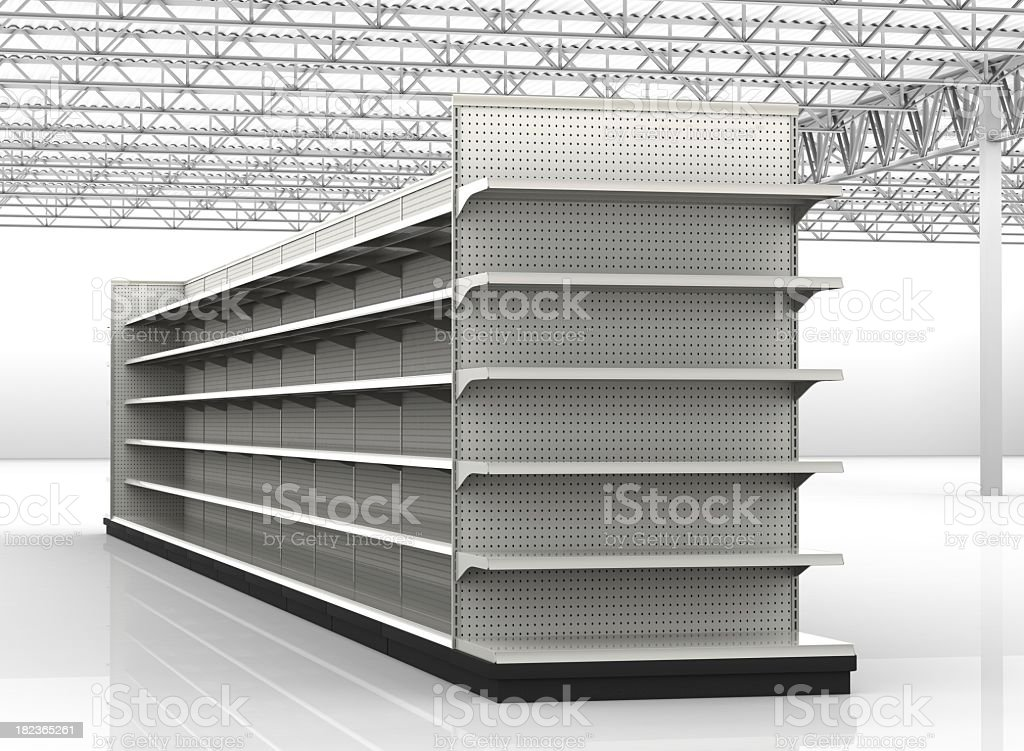 Empty store shelves in a retail environment  royalty-free stock photo