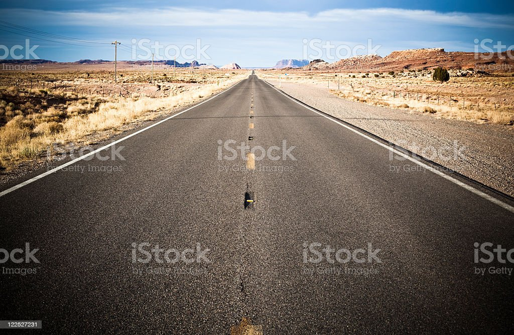 Empty Straight Country Road In the Desert royalty-free stock photo