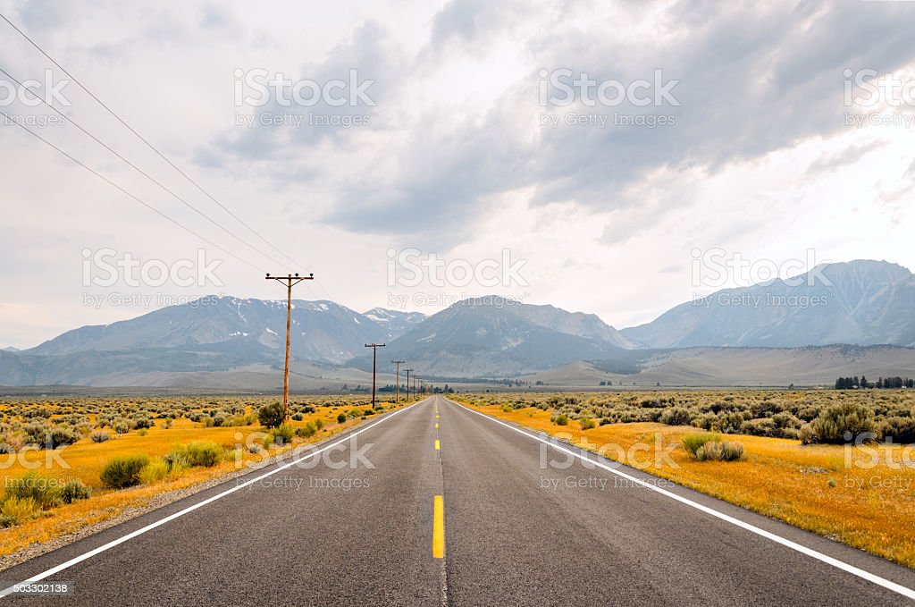 Empty straight highway in the West, California, US stock photo