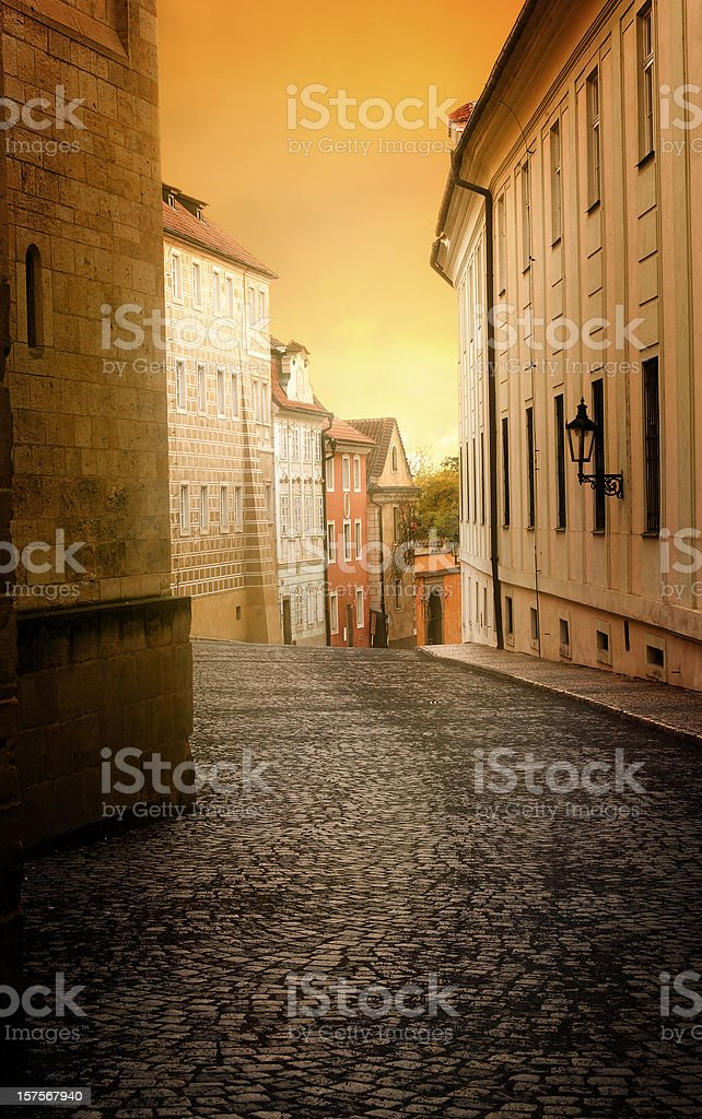 Empty street at dawn royalty-free stock photo