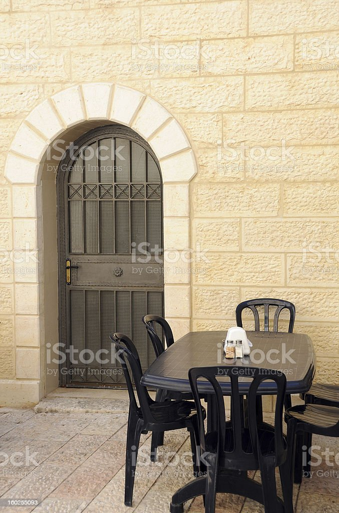 Empty Street Cafe in Jerusalem royalty-free stock photo