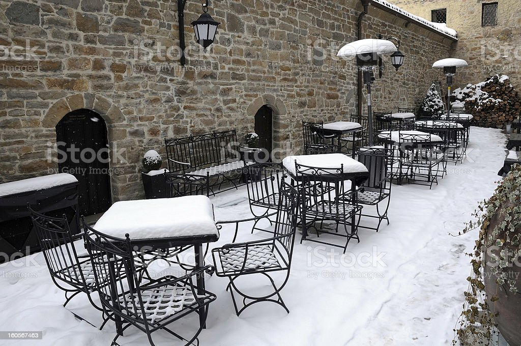 Empty Street Cafe in the Winter royalty-free stock photo