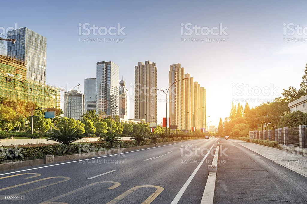 empty street in modern city stock photo