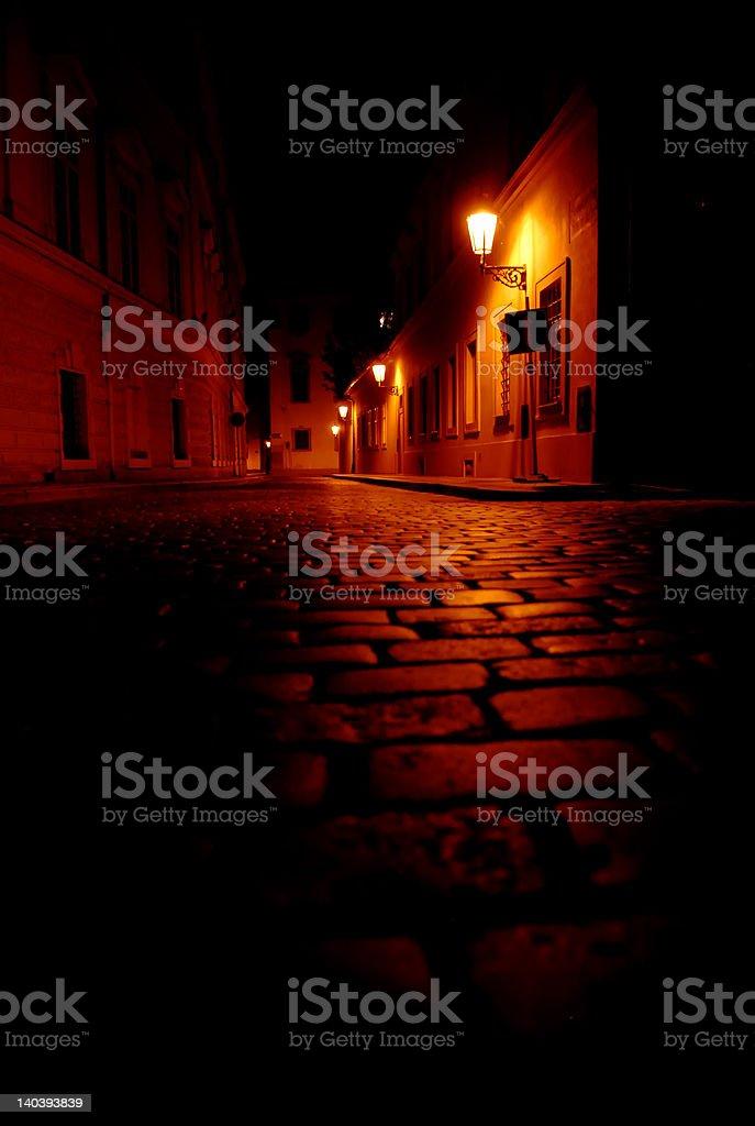 Empty street in Prague stock photo