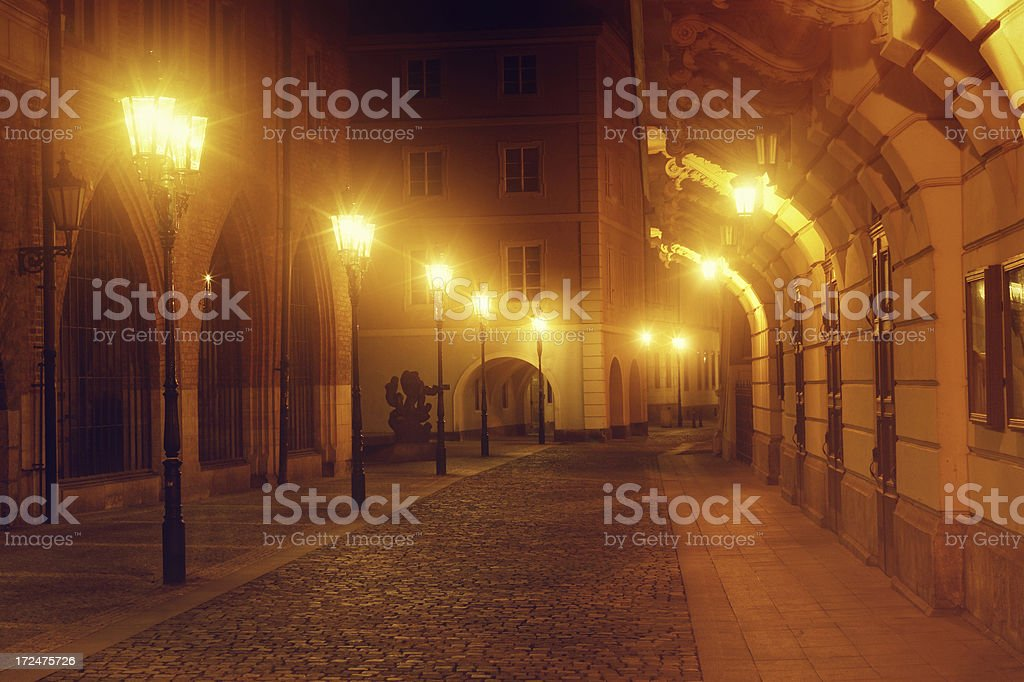 empty street in the night royalty-free stock photo