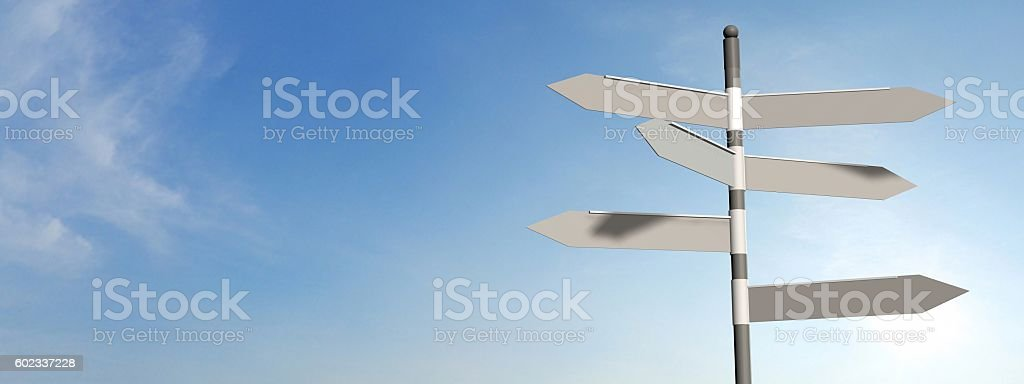 empty street sign with sky background stock photo