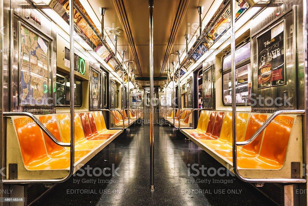 Empty Subway Car. 6 Line. New York City, NY stock photo