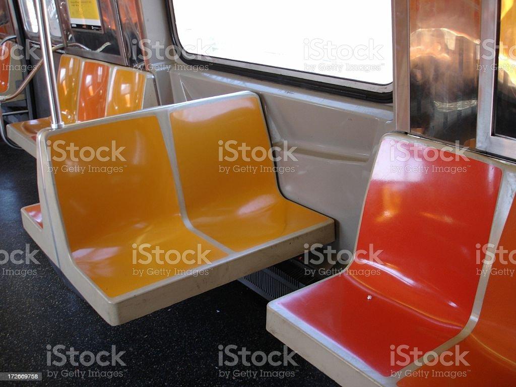 Empty Subway Seats - NYC stock photo