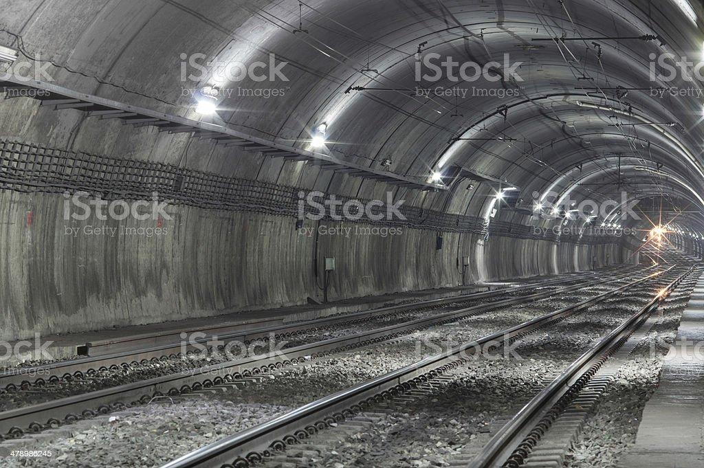 Empty Subway Tunnel stock photo