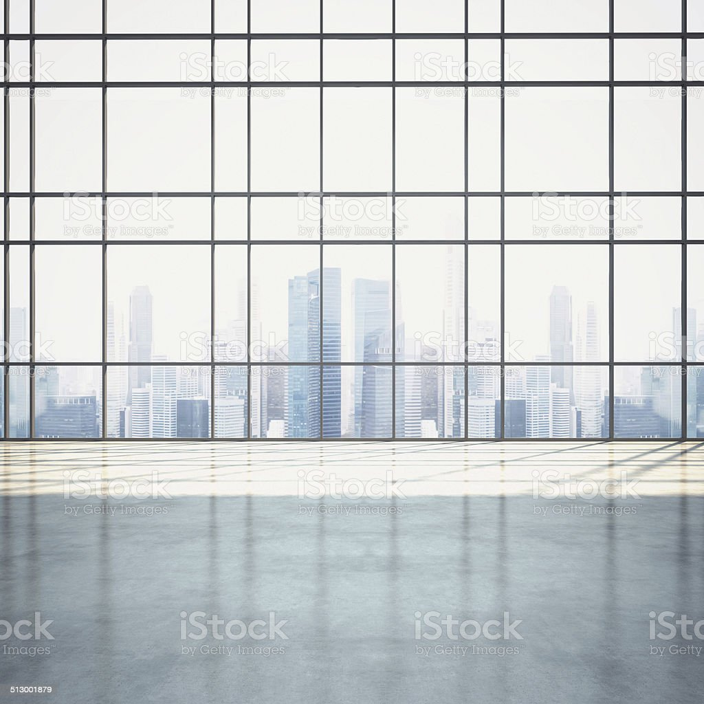 Empty sunny open plan interior with cityscape stock photo