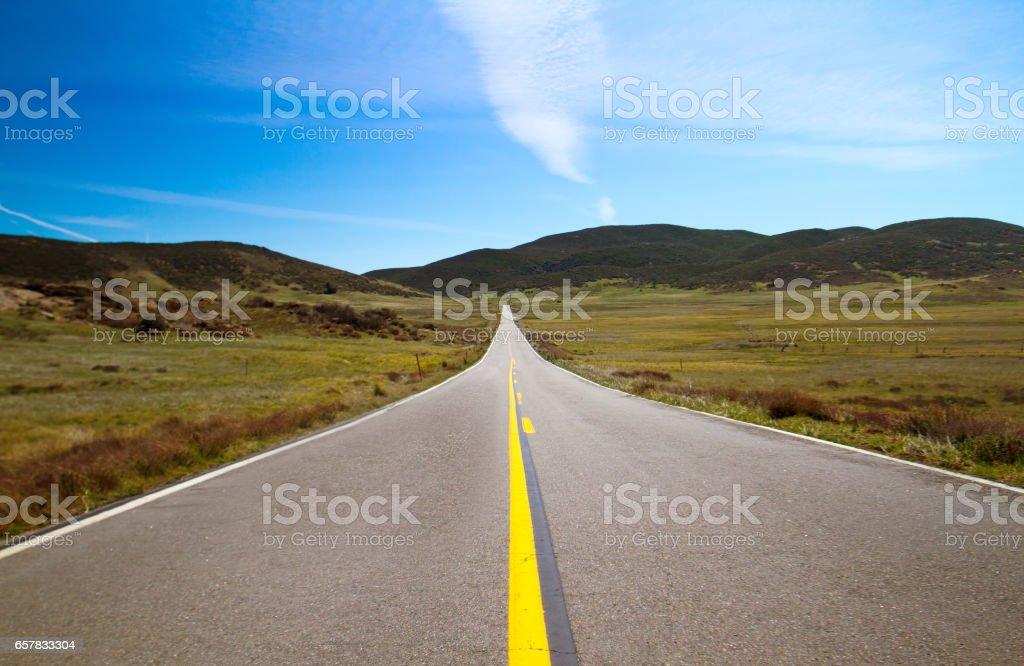 Empty Sunrise Highway Near Julian and Anza-Borrego Park, CA stock photo