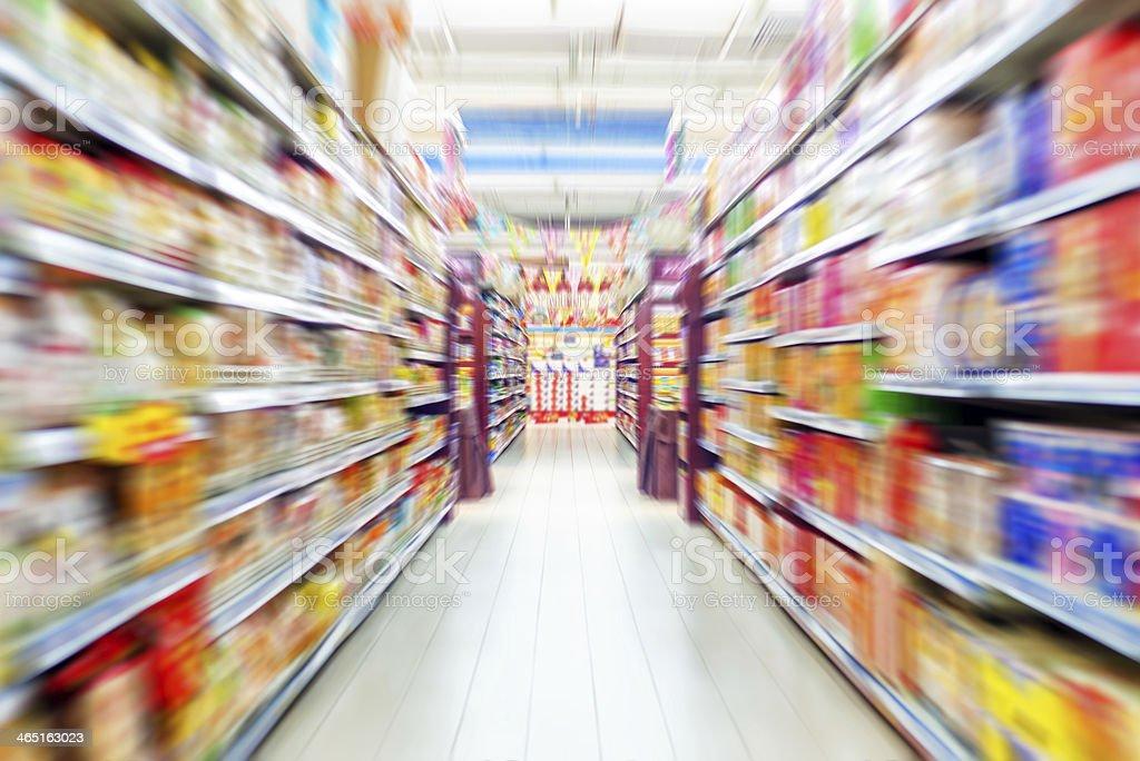 Empty supermarket aisle stock photo