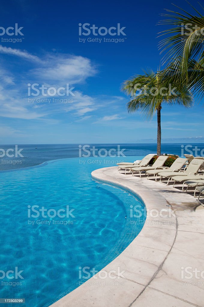 Empty swimming pool next to white sun loungers and palm tree royalty-free stock photo