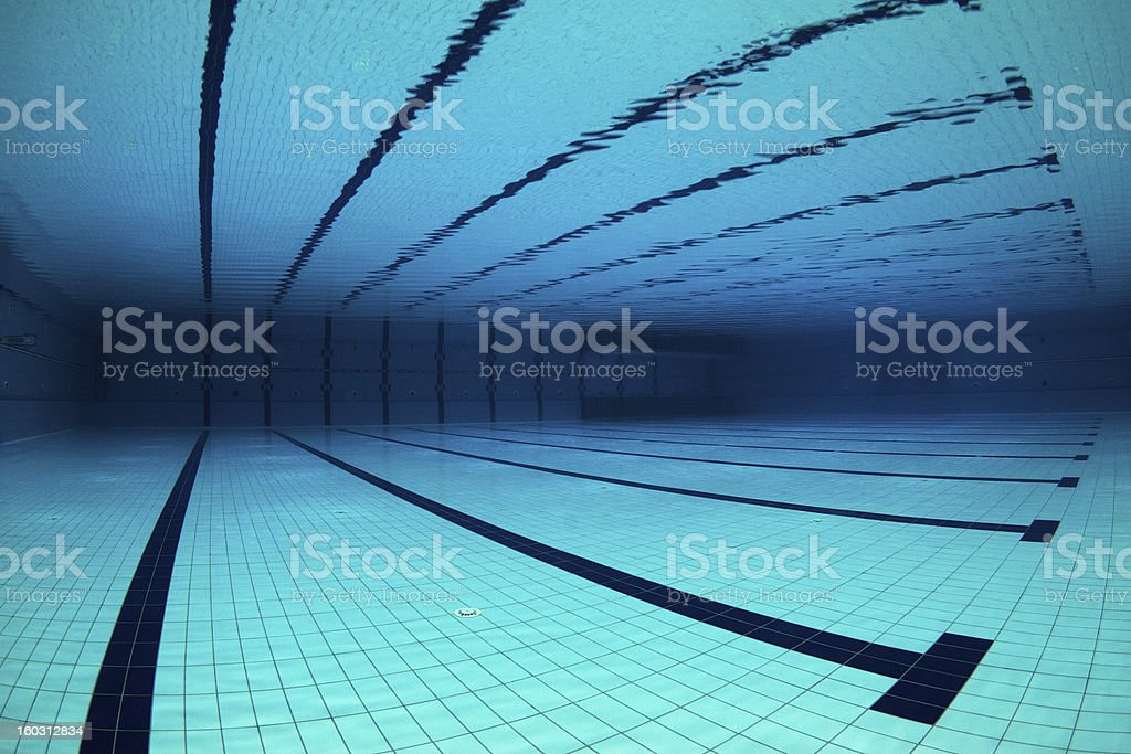 Empty Swimming Pool Underwater stock photo