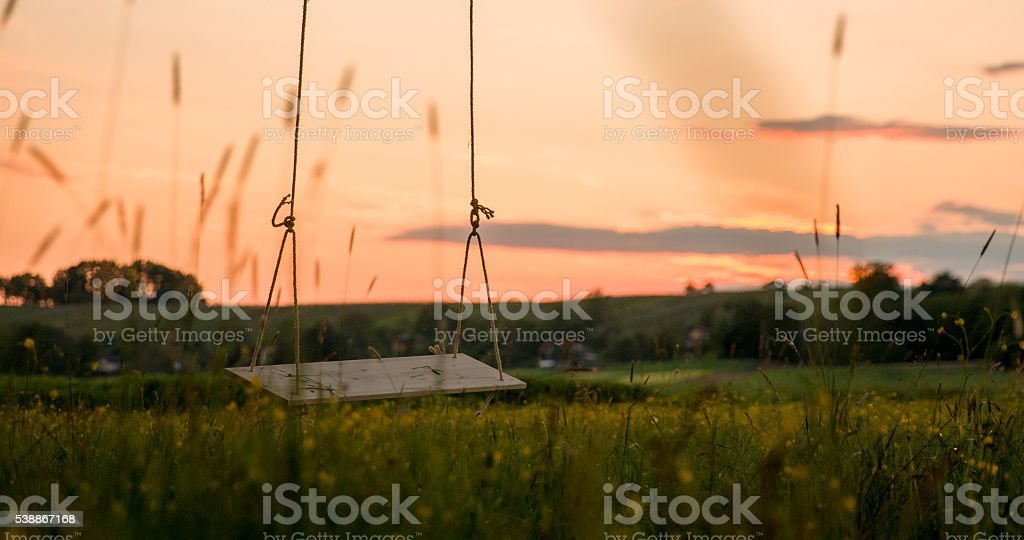 Empty swing over field stock photo
