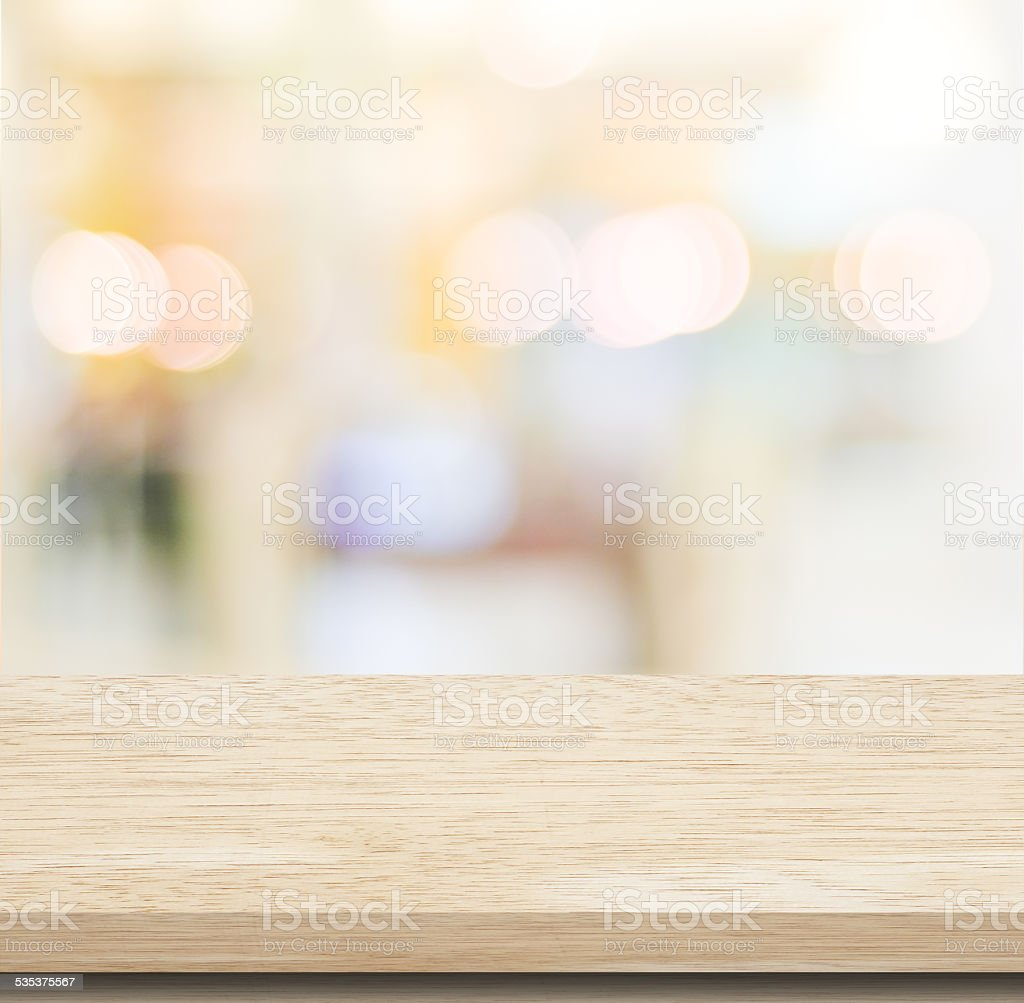Empty table and blurred store bokeh background stock photo