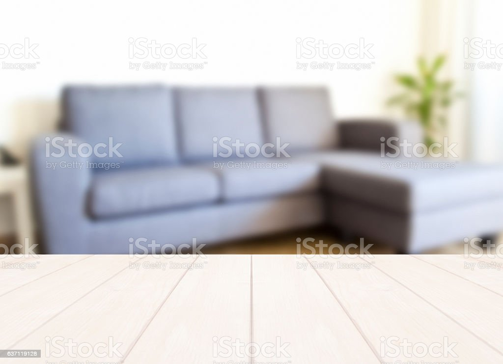 Empty table in a modern living room stock photo