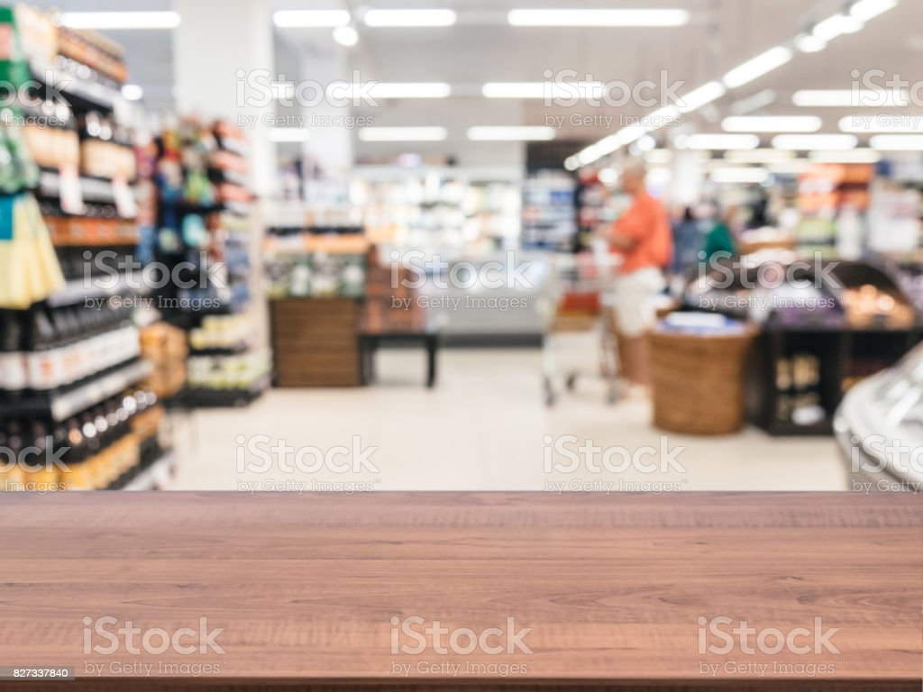Empty table in front of blurred background stock photo