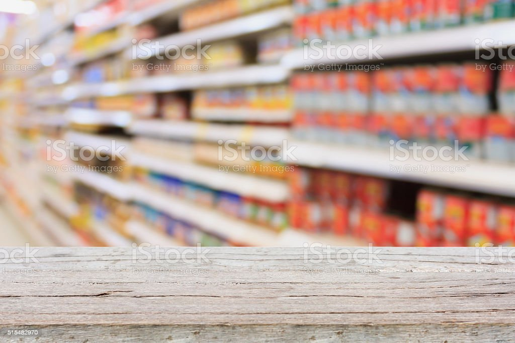 Empty table over blur supermarket with bokeh background, Product shelf stock photo