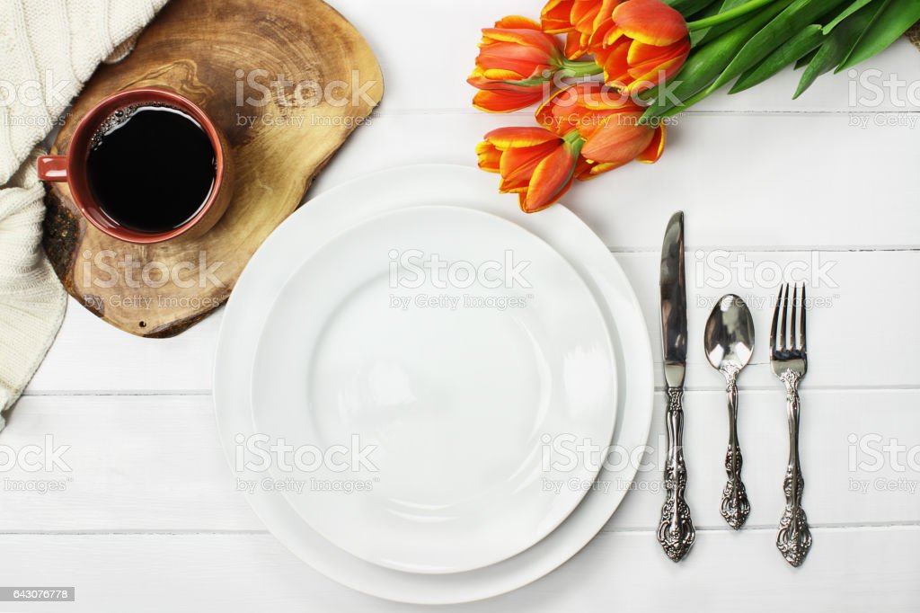 Empty Table Place Setting stock photo