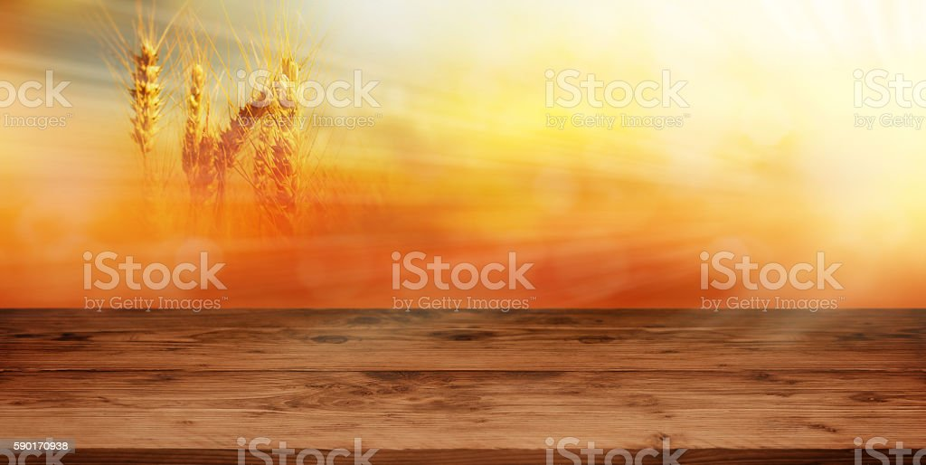 Empty table with autumn background stock photo