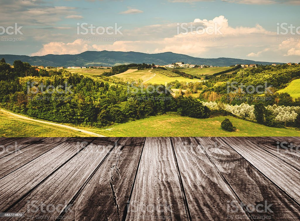 empty table with countryside landscape stock photo