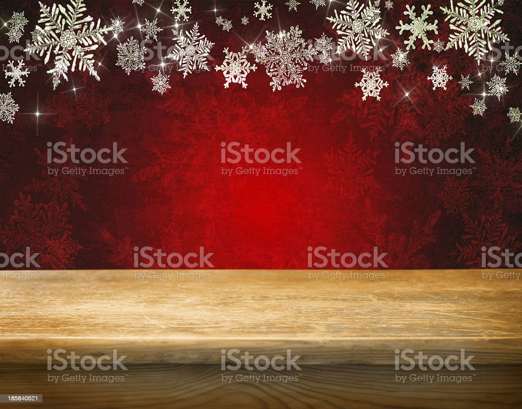 Empty table with falling snow flakes royalty-free stock photo