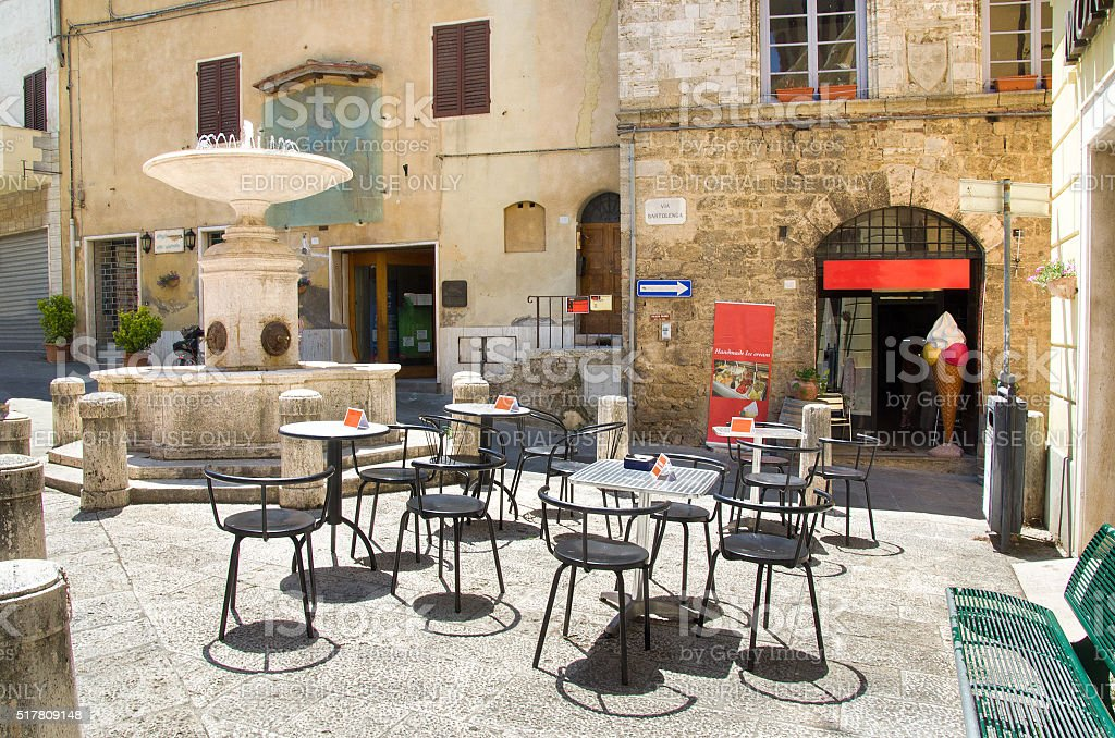 empty tables meeting point little square fountain bar gelateria stock photo