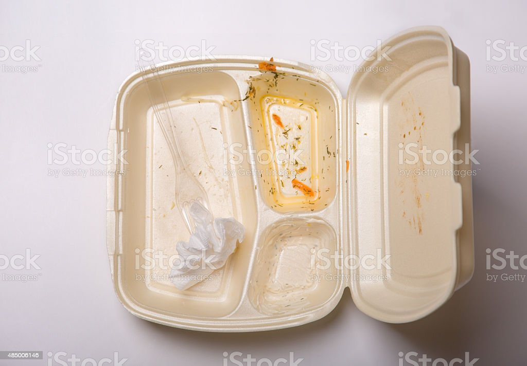Empty takeout food box stock photo