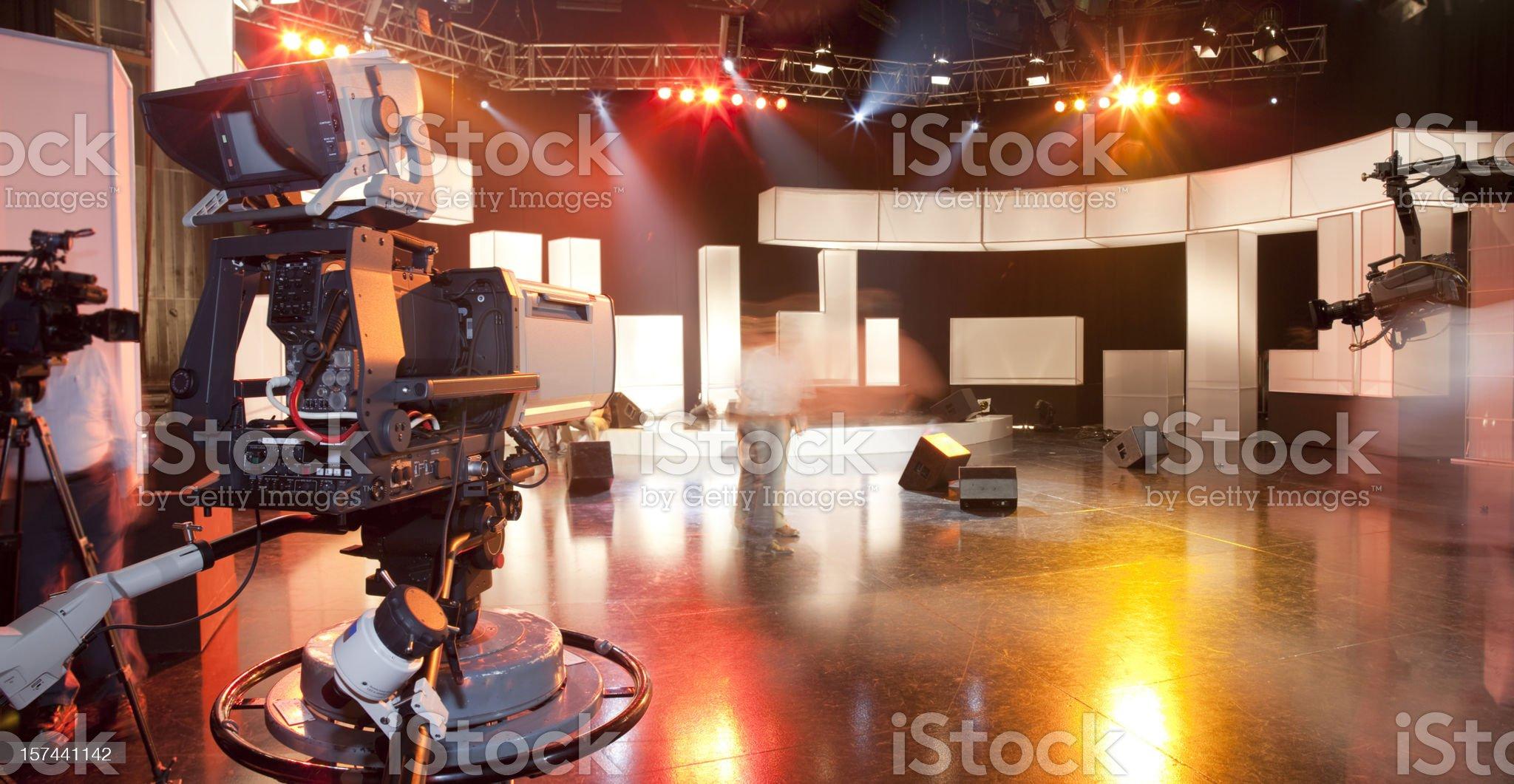 Empty television studio with camera royalty-free stock photo