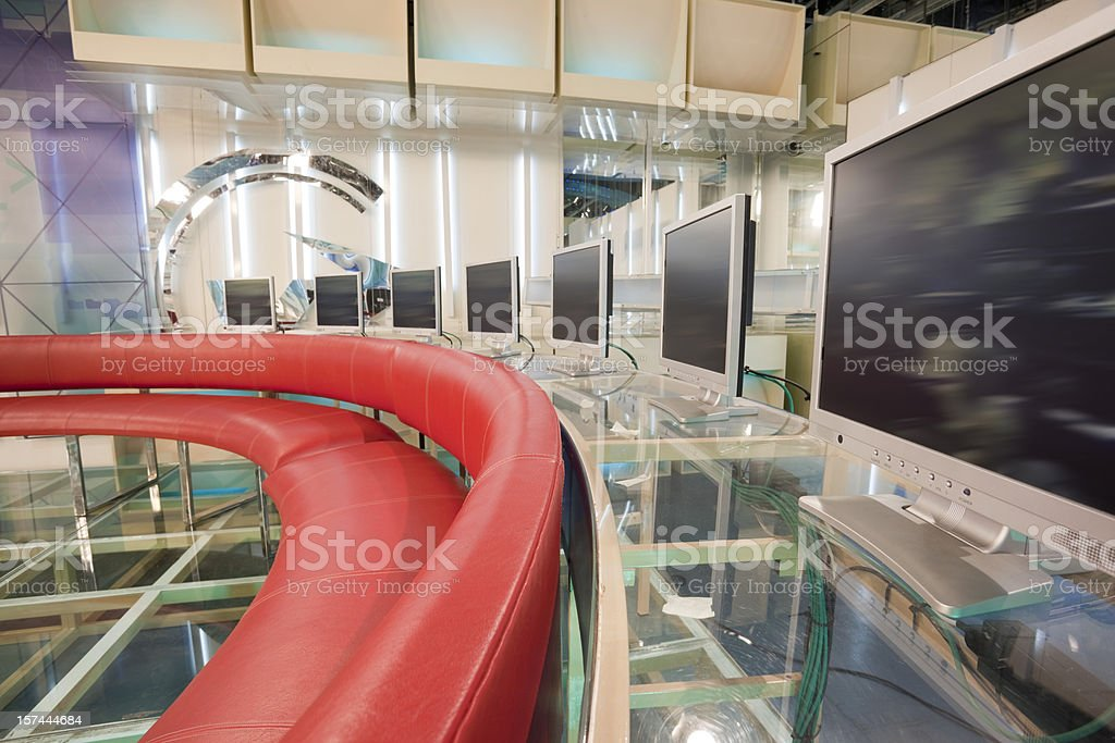 Empty television studio with LCD screens royalty-free stock photo