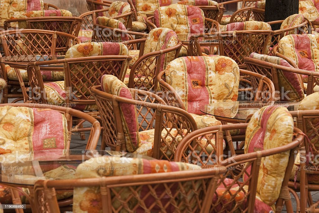 empty terrace chairs royalty-free stock photo