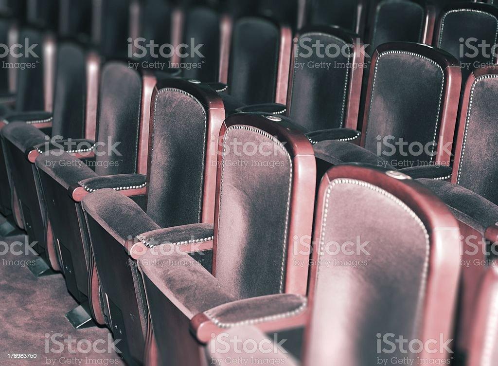 Empty theater chairs, retro auditorium royalty-free stock photo