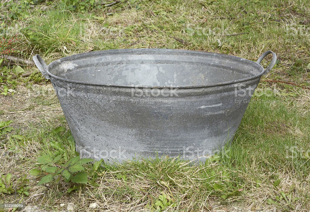 Empty tin bath stock photo