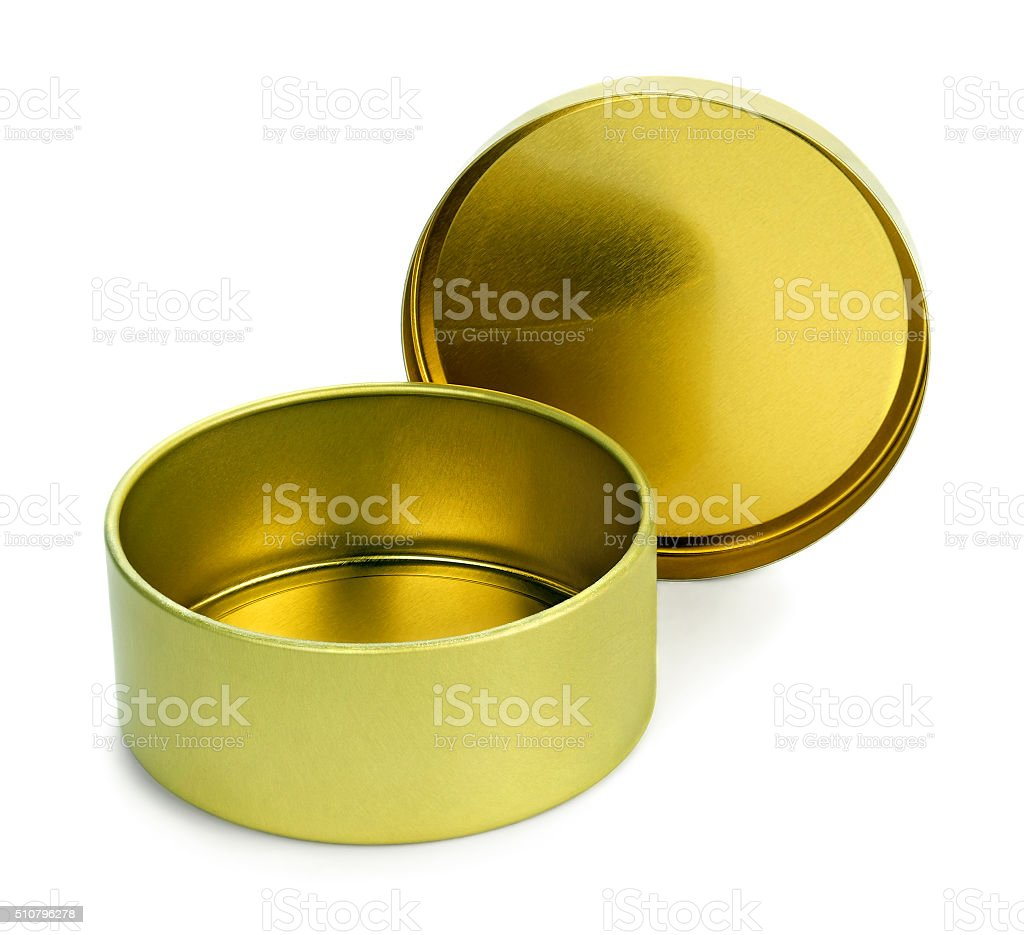 Empty  tin box for candies stock photo