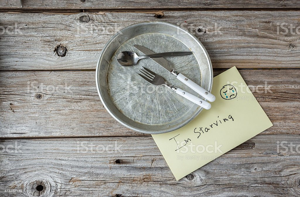 empty tin plate with cutlery and sign saying 'I'm hungry' stock photo