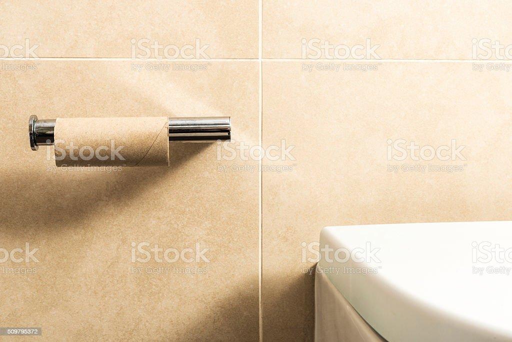Empty toilet paper stock photo