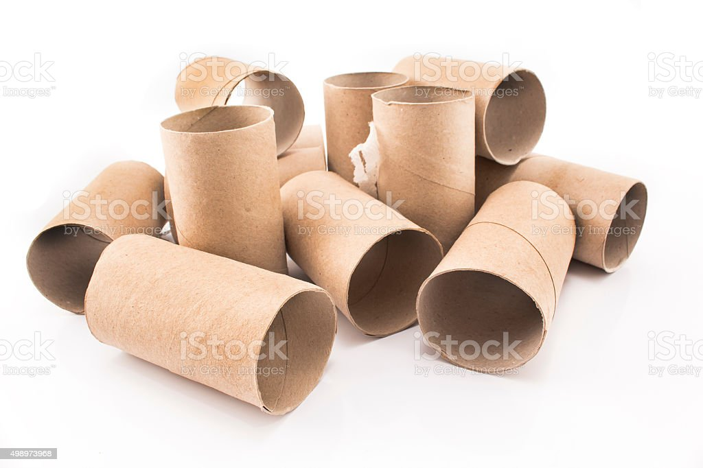 Empty toilet paper rolls isolated on white stock photo